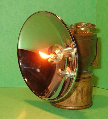 Brass carbide lamp by Justrite