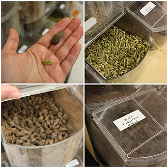 Cardamom production - Labeled varieties of cardamom in storage containers