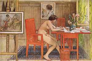 Naturism - Personal nudity: Carl Larsson, Model Writing Postcards, watercolor, 1906