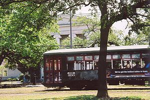 16th Ward of New Orleans - St. Charles Streetcar passes the old Carrollton City Hall Building on Carrollton Avenue, April, 2005