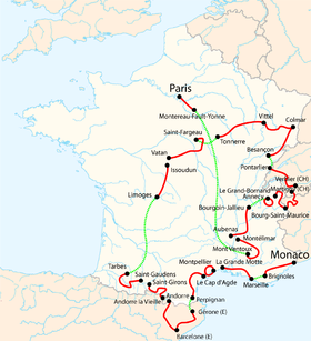 Carte des étapes du tour de France 2009