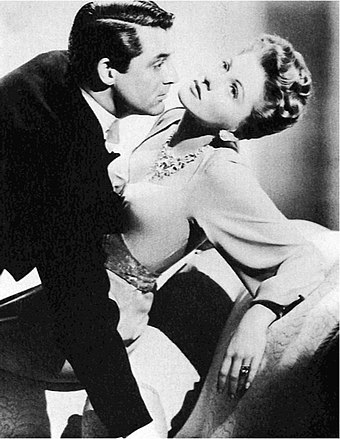 Cary Grant and Joan Fontaine in a publicity shot for Suspicion (1941) Cary Grant Joan Fontaine Suspicion.jpg