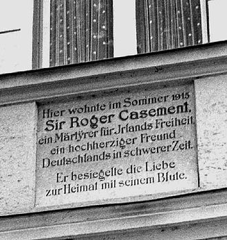 Roger Casement - Plaque commemorating Casement's stay in Bavaria during the summer of 1915