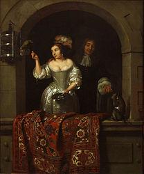 Caspar Netscher: A Lady with a Parrot and a Gentleman with a Monkey