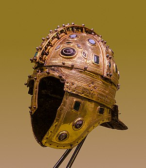 "Late Roman ridge helmet - Roman ridge helmet (Berkasovo I), early 4th century AD. Made of iron and sheathed in silver-gilt, it is decorated with glass gems. From the ""Berkasovo treasure"", Muzej Vojvodine, Novi Sad (Serbia)."