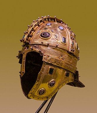"Late Roman ridge helmet - Roman ridge helmet (Berkasovo I), early 4th century AD. Made of iron and sheathed in silver-gilt, it is decorated with glass gems. From the ""Berkasovo treasure"", Muzej Vojvodine, Novi Sad (Serbia)."