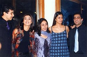 Sushmita Sen - Sen (second from left) with the co-stars of her movie Filhaal in 2002