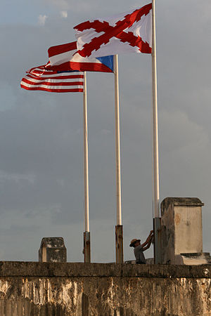 Cross of Burgundy - Cross of Burgundy alongside Puerto Rico and U.S. flags at Fort San Cristóbal