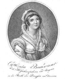Cathinka Buchwieser als Prinzessin von Navarra im Theater an der Wien 1813 (Quelle: Wikimedia)