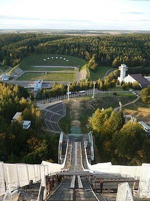 Ski jumping hill - Image: Centr alimpijskaj padrychtoŭki Raŭbičy
