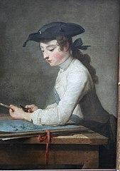 Jeune Dessinateur taillant son crayon