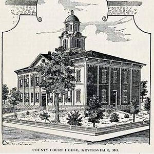 Chariton County, Missouri - The second Chariton County Courthouse 1867-1973.It replaced one destroyed by Confederate raiders in September, 1864.