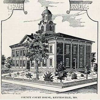 Chariton County, Missouri - The second Chariton County Courthouse 1867-1973. It replaced one destroyed by Confederate raiders in September 1864.