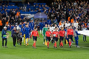 Qarabağ FK - Qarabağ playing against Chelsea at Stamford Bridge during the 2017–18 UEFA Champions League.