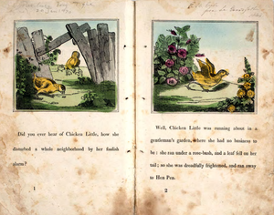 Henny Penny - First two pages of the 1840 children's illustrated book: The Remarkable Story of Chicken Little