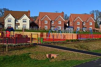 Abbotswood, Hampshire - Image: Childrens playground and new housing Abbotswood (geograph 3897827)