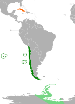 Map indicating locations of Chile and Cuba