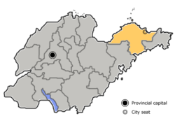 Location of Yantai City jurisdiciont in Shandong