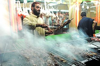 Kebab - Chopan kebab being prepared in Afghanistan.