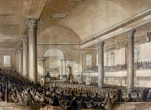 Christ Church Cathedral (Montreal) - The interior of the original Christ Church Cathedral in 1852.