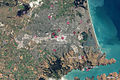 Christchurch from space, 4 March 2011, showing quake shaking strength.jpg