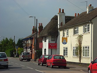 Theale - Old Lamb in centre, Lamb (now defunct) behind, nursery in front.
