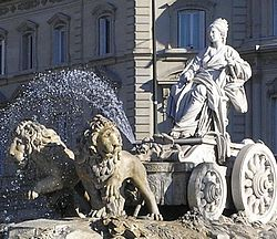 A fountain in Madrid depicting Cybele in her chariot drawn by lions, in the Plaza de Cibeles