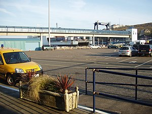 Isle of Man Sea Terminal - Car Marshalling Area and Passenger Footbridge