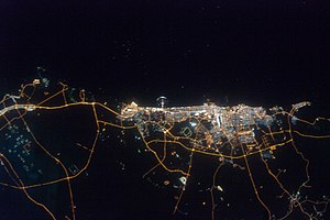 Geography of Dubai - The Dubai-Sharjah-Ajman metropolitan area at night