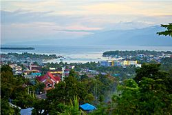 Manokwari, as seen from the summit of Table Mountain.