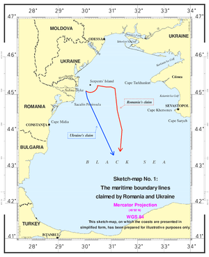 Maritime Delimitation in the Black Sea case - Maritime boundaries claimed by Romania and Ukraine