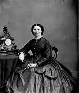 Black and white portrait of Clara Barton, taken by photographer Mathew Brady in the year 1865