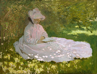 Argenteuil - In his 1872 painting, Springtime, Monet was interested in studying how unblended dabs of color could suggest the effect of brilliant sunlight filtered through leaves The Walters Art Museum.