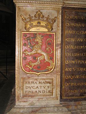 Coat of arms of Finland - Figure 5: Grand-ducal coat of arms of Finland, tomb of King Gustav Vasa (Uppsala cathedral, Sweden)