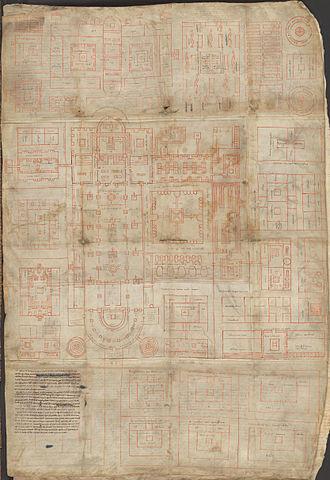Plan of Saint Gall - Plan of Saint Gall. Reichenau, early 9th century (ca.820–830). Ms. 1092. Parchment, 1 folio, ca. 112cm x 77.5 cm. Latin.