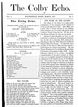 Colby College student organizations - First Volume, First Issue of the Colby Echo