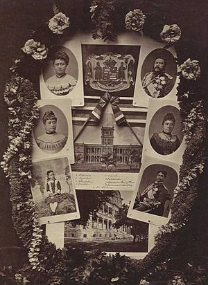 House of Kalākaua - Collage showing King Kalākaua and family. Left to right from top: Queen Kapiʻolani, King Kalākaua, Princess Likelike, Queen Liliʻuokalani, Princess Kaʻiulani, and Prince Leleiohoku.