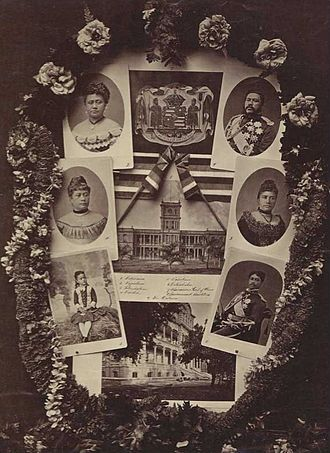 House of Kalākaua - Collage showing King Kalākaua and family. Left to right from top: Queen Kapiʻolani, King Kalākaua, Princess Likelike, Queen Liliʻuokalani, Princess Kaʻiulani, and Prince Leleiohoku.