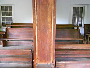 Friends meeting house - Interior of the Colora Meetinghouse in Maryland, showing the facing benches and the moveable divider typical of 18th and 19th century meetinghouses in the area