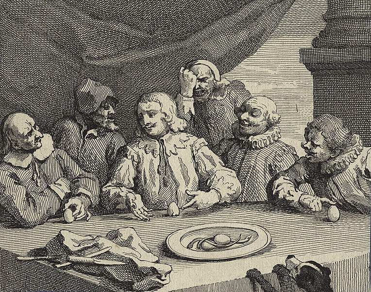 File:Columbus Breaking the Egg' (Christopher Columbus) by William Hogarth.jpg