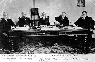 Eleftherios Venizelos - The council of Crete in which Venizelos participated. He is the second from the left.