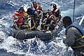 Comoros Sailors and Seychelles Coast Guardsmen prepare to recover a rigid hull inflatable boat during an Exercise Cutlass Express 2017.jpg