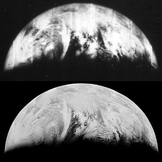 Lunar Orbiter program - A detail of an original image at the top, compared to a reprocessed version at the bottom created by LOIRP.