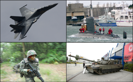 Examples of the Malaysian Armed Forces weaponry assets. Clockwise from top right: Scorpene-class submarine, PT-91M MBT tank, Malaysian Army paratrooper with M4, and Su-30MKM fighter aircraft. Compilation of Malaysian Armed Forces.png