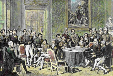 The Congress of Vienna met in 1814-15. The objective of the Congress was to settle the many issues arising from the French Revolutionary Wars, the Napoleonic Wars, and the dissolution of the Holy Roman Empire. CongressVienna.jpg
