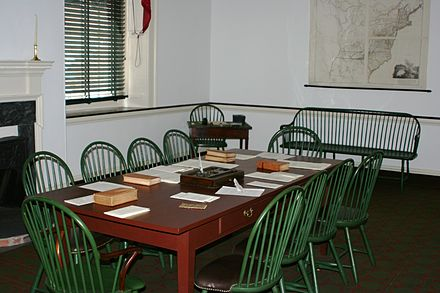 The second committee room upstairs in Congress Hall, Philadelphia, Pennsylvania. Congress Hall committee room 2.jpg