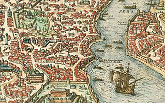 Prosphorion Harbour - The Prosphorion harbour (first inlet from bottom along the left side of Golden Horn), from Byzantium nunc Constantinopolis by Braun and Hogenberg, 1572