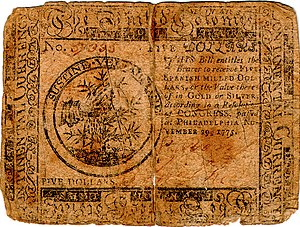 Continental Currency $5 banknote obverse (November 29, 1775).jpg