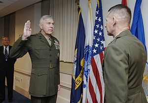 James T. Conway - Conway is sworn in by General Peter Pace, Chairman of the Joint Chiefs of Staff, on November 13, 2006