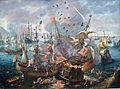 Cornelis Claesz van Wieringen - Het ontploffen van het Spaanse admiraalschip tijdens de zeeslag bij Gibraltar 001.JPG